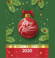 christmas greeting card with red ball snowflakes vector image