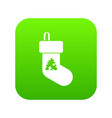 christmas sock icon digital green vector image vector image