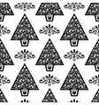 christmas tree folk art seamless pattern vector image