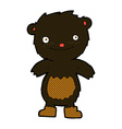 comic cartoon teddy black bear wearing boots vector image vector image
