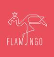 continuous line flamingo logo vector image vector image