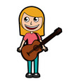 cute blond women guitar cartoon vector image vector image