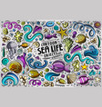 doodle cartoon set of sea life objects and symbols vector image