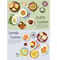 Festive dishes of dutch and danish cuisines icon vector image vector image