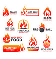fire flame icons campfire fireball and bonfire vector image