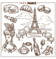 france travel landmark sketch symbols vector image vector image