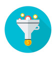 Funnel flat circle icon vector image vector image