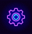 gearwheel neon sign vector image