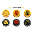 golden and black coins 777 casino game symbols vector image vector image