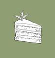 hand drawn piece of matcha tea layered cake vector image vector image