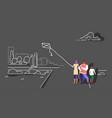 happy family launching kite city urban park vector image vector image