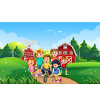 happy kids playing outdoor nature vector image