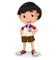 Happy Thai boy standing vector image vector image