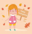 happy thanksgiving day cute girl with board vector image vector image