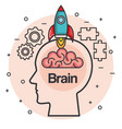 head with rocket brain think idea concept vector image