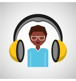 headphones music cartoon guy glasses vector image