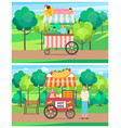 ice cream and hot dog kiosk in park forest vector image vector image