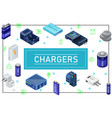 isometric modern charging sources concept vector image