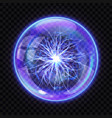 magic ball with electric lightning inside vector image