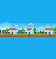 modern friendly houses with wind turbine and solar vector image