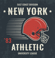 new york t shirt with football helmet vector image vector image