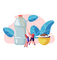 people characters using plastic things bottle vector image vector image