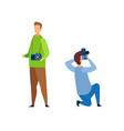 photographer paparazzi cartoon characters set vector image