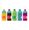 plastic beverage bottles icon set bottled cold vector image