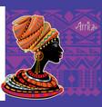 portrait african woman in ethnic turban vector image