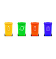 realistic multi colored trash cans isolated on vector image
