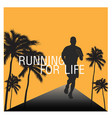 running for life human tree orange background vect vector image