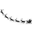 Santa Claus riding on a reindeer sleigh vector image vector image