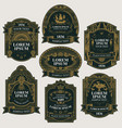 set black and gold vintage labels vector image