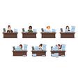 set of different nationalities women workload vector image