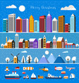 set of houses and objects vector image
