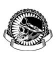 skull with helmet vector image vector image