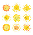 sun emoji funny summer sunshine sun baby happy vector image