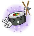 sushi cartoon character chopsticks vector image
