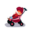sweet litlte kid sitting in a modern baby stroller vector image