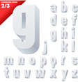 Three-dimensional condensed alphabet vector image vector image