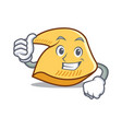 thumbs up fortune cookie character cartoon vector image vector image