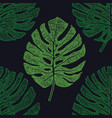 tropical palm leaves monstera seamless pattern vector image vector image