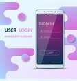 user interface design smartphone icon login and vector image vector image