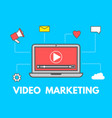 video marketing concept laptop with business vector image vector image