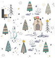 winter forest seamless pattern background vector image vector image