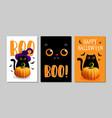 with black cat halloween vector image