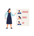 woman demonstrate results voting or rating vector image