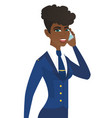 young african stewardess talking on a mobile phone vector image vector image