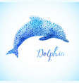 jumping blue dolphin watercolor painted vector image
