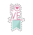 i love you greeting heart style cut line vector image